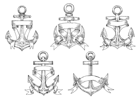forked: Sketches of vintage marine anchors, wrapped by ribbons with forked ends and copyspace for text. Nautical heraldry or yachting sport themes Illustration
