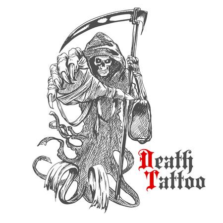 guadaña: Terrible Grim Reaper o muerte con carácter guadaña. Esbozo de esqueleto espeluznante llevaba cabo larga con capucha y con segador en la mano huesuda. Para el tatuaje, camiseta de la impresión o el uso del diseño de Halloween
