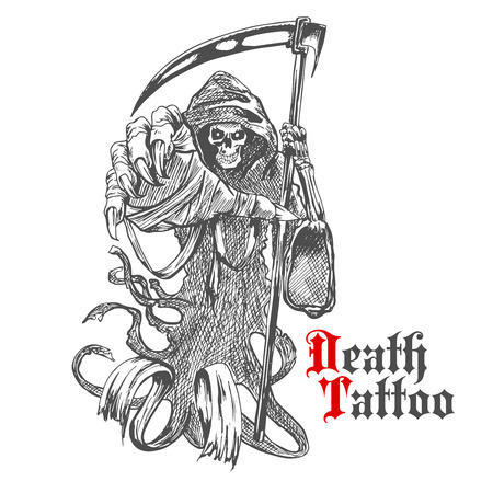 bony: Terrible grim reaper or death with scythe character. Sketch of spooky skeleton wearing long hooded cape with reaper in bony hand. For tattoo, t-shirt print or Halloween design usage Illustration