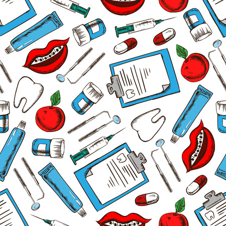 medicine background: Dental medicine background for dentistry, dental treatment and hygiene design. Seamless pattern of teeth, dentist tools and syringes, pills and toothpaste, toothy smiles with braces, clipboards and apples Illustration