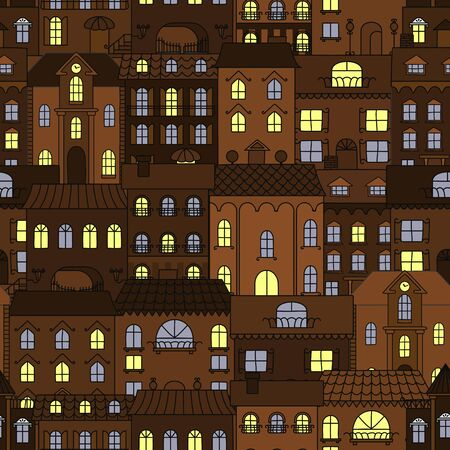 city buildings: Dark streets of old town at night background with retro seamless pattern of brown houses with yellow and blue shining windows. Use as european travel or interior accessories design Illustration
