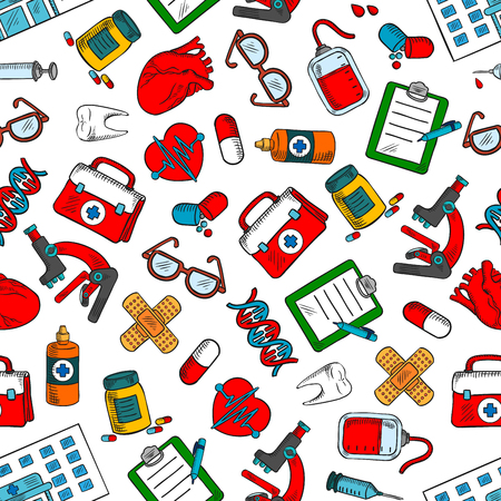 medications: Seamless medical checkup and health care background with colorful sketchy pattern of medications, syringes, microscopes, blood bags, human hearts, teeth, first aid kits, glasses, DNA, hospital buildings, plasters and clipboards
