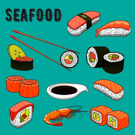 Colorful seafood menu icons of sushi nigiri, topped with smoked salmon, tuna and sushi rolls with salmon, mackerel and shrimp, avocado, red caviar and cucumber fillings, served with grilled prawn, soy sauce and chopsticks. Japanese cuisine theme or orient Illustration
