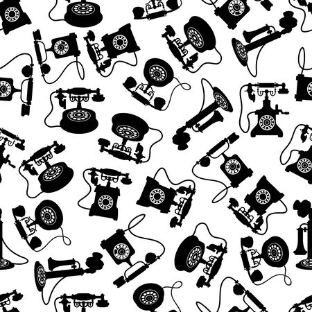 Retro telephones seamless pattern with black silhouettes of rotary dial and candlestick phones with magneto handles and decorative handsets over white background Illustration