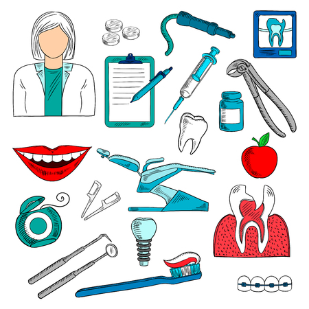 toothbrush: Female dentist with tools and dentist equipment as chair and pills, syringe, cross section and x ray of cracked or carious teeth, toothbrush and floss, implant and braces, dental checkup list and apple. Dentistry, hygiene and treatment themes