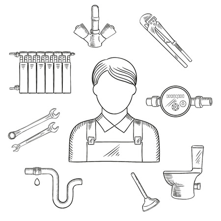 sanitary engineering: Plumbing services sketch symbol of male plumber in uniform with spanners, water faucet, pipe with leak on connection, toilet, heating radiator, adjustable wrench, water meter and plunger. Profession theme design Illustration