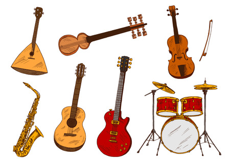 balalaika: Classic and ethnic musical instruments sketches with drum set and saxophone, electric and acoustic guitars, violin, indian sarod and balalaika. Music, art festival poster or concert themes