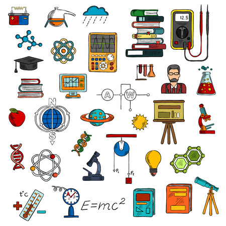 computer scientist: Science research and education sketch symbols with books, computer, microscopes, scientist, laboratory flasks, electrical equipments and circuit, DNA, atom and molecule models, formulas, telescope, planets, battery, graduation cap and apple