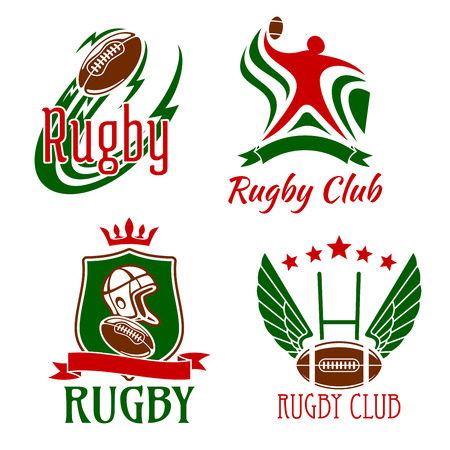 crowned: Rugby game design elements for sporting club or team symbols with flying ball, rugby player in position for passing, winged ball with gate on the background, crowned shield with rugby items, adorned by stars and ribbon banners