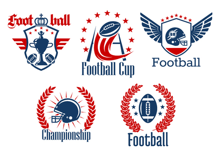 stars and symbols: American football championship or sporting club symbols with balls, helmets with face mask, gate and winner trophy cup, framed by heraldic shields with wings and crown, laurel wreaths and stars Illustration