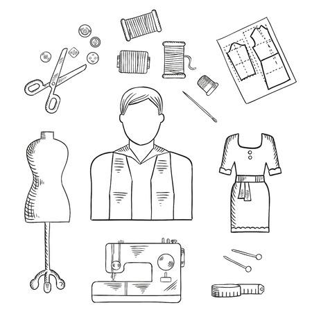profesiones: Sastre o diseñador de moda boceto profesión icono con modista de sexo masculino, tijeras, máquina de coser, agujas con hilos, botones y Trimble, maniquí, cinta métrica, patrón de papel y elegante vestido de cóctel