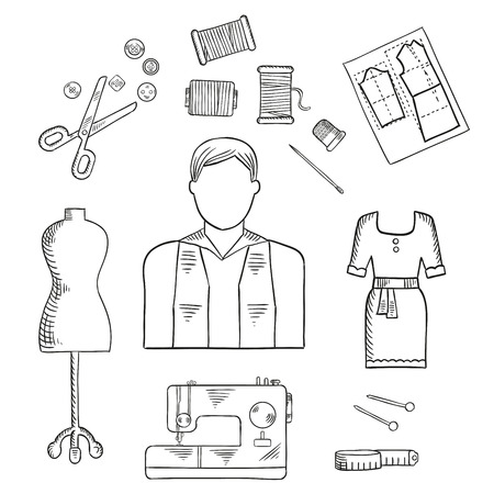 profession: Tailor or fashion designer profession sketch icon with male dressmaker, scissors, sewing machine, needle with threads, buttons and trimble, mannequin, tape measure, paper pattern and stylish cocktail dress Illustration