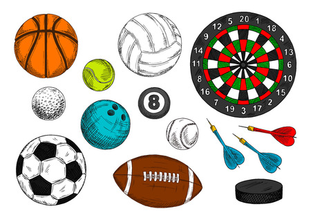 ice hockey puck: Colorful sketch drawings of sporting items with balls for football or soccer, volleyball, baseball, golf, tennis, american football or rugby, basketball, bowling and billiards, ice hockey puck and dart board with arrows