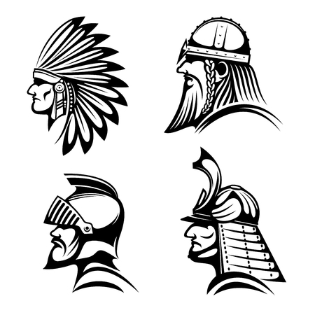 american history: Ancient warriors in helmets icons with profiles of medieval knight, bearded viking soldier, japanese samurai and native american indian in feather headdress. May be used as history symbol, war mascot or tattoo design