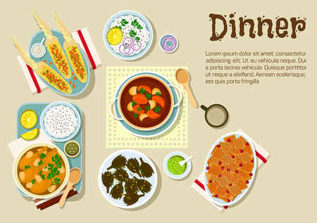 casserole: Weekend dinner flat icon with garlic chicken legs, served with rice and guacamole, bread casserole with dried cranberries fruits, pork ribs and potato stew, grilled corn cobs with spicy herbs and almond flakes, fried artichoke. European cuisine design Illustration