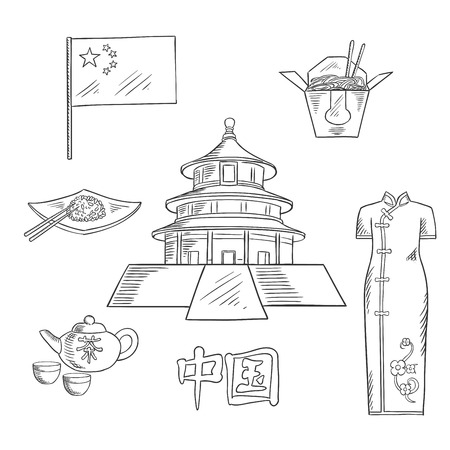 Ancient chinese Temple of Heaven sketch symbol for culture of China and travel concept with national flag, ceremony tea set, rice with chopsticks, takeaway box of noodles and traditional cheongsam dress