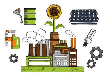 bio fuel: Eco friendly and energy saving factory colorful sketch of industrial plant with solar panel, bio fuel, fluorescent light bulb, mechanical gears and flower above. Use as environment and industrial pollution theme or energy saving design Illustration