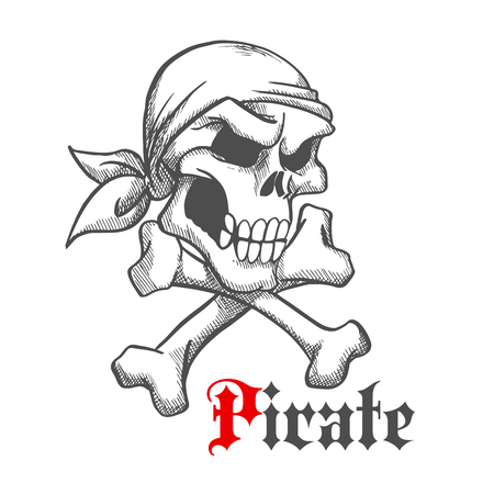 roger: Pirate captain skull with crossbones vintage sketch illustration with angry human skeleton head in bandana. Use as jolly roger, piracy symbol or tattoo design