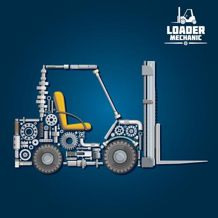 Ładowarka mechanika z symbolem wózka widłowego, składający się z ramion rozwidlenia, koła, siedzenia, kół zębatych, łożysk, elementów układu hydraulicznego łańcucha podnoszenia, węży ciśnieniowych, wał korbowy, osie, tucznych i przewozu. Wykorzystanie projektowania Transport Ilustracje wektorowe