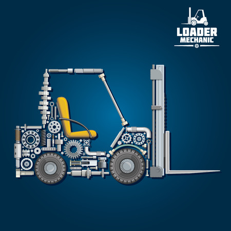 Loader mechanics symbol with forklift truck, composed of fork arms, wheels, seat, gears, ball bearings, hydraulic system parts, lifting chain, pressure hoses, crankshaft, axles, mast and carriage. Transportation design usage