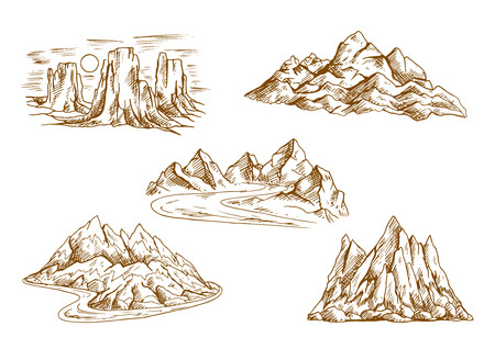 rocky: Retro sketched mountains icons with landscapes of high cliffs and hills, rocky ridge and summit, tower rocks and mountain valleys with winding roads. Great for hiking tourism, rock climbing symbols or nature theme design Illustration