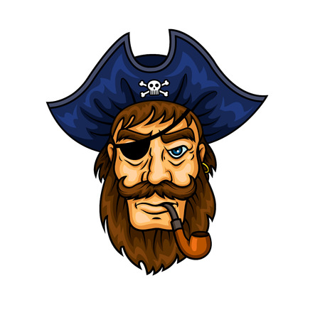 human face: Bearded cartoon pirate captain character smoking pipe wearing eye patch and blue hat with jolly roger symbol. May be used for piracy mascot or marine adventure design