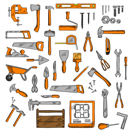 jack plane: Hammers, wrenches, saws, knives, scissors, screwdriver, trowels, wheelbarrow, spatula, pliers, axe, bench vice, level ruler, paint roller and brush, tape measure, jack plane, screws and nails, toolbox and construction project colored sketch icons. Hand to
