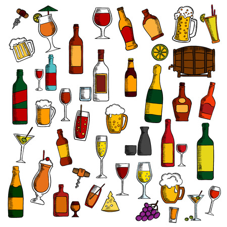 Alcohol drinks and cocktails with snacks and fruits icon with colorful sketches of wine, beer, champagne, martini, vodka, liquor, sake, barrel of wine, bright cocktails, bunches of grape, olives and lemons fruits, cheese and corkscrews Иллюстрация