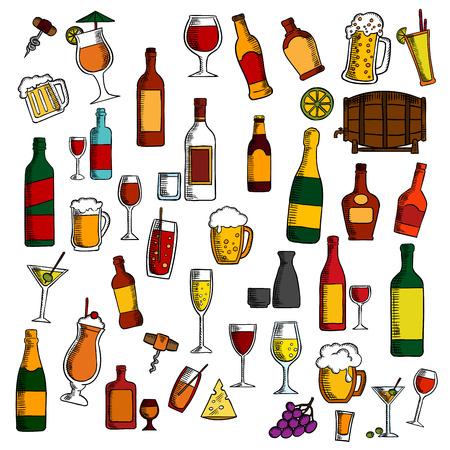 sake: bebidas alcohólicas y cócteles con bocadillos y frutas icono con dibujos coloridos de vino, cerveza, champán, martini, vodka, licor, el sake, el barril de vino, cócteles brillantes, racimos de uva, aceitunas y limones frutas, queso y sacacorchos Vectores