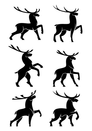 branching: Black silhouettes of wild forest bull elks or deers with large branching antlers posing during rut. Wildlife mascot, hunting symbol or t-shirt print design usage