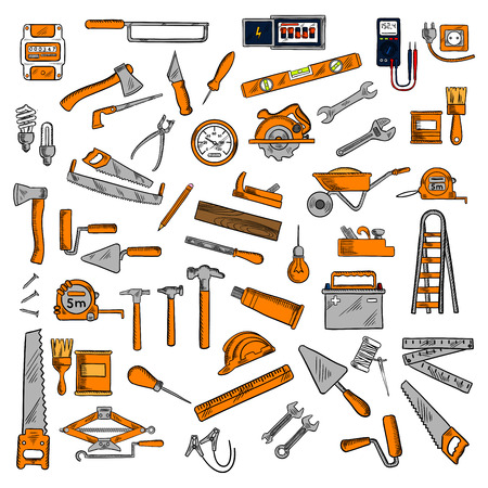 electricity meter: Work tools sketches of hammers, wrenches and saws, rulers, light bulbs, trowels and axes, paint brushes and rollers, wheelbarrow, battery, tape measures, jack plane, awls, electricity meter, ladder and hard hat, voltmeter, jack