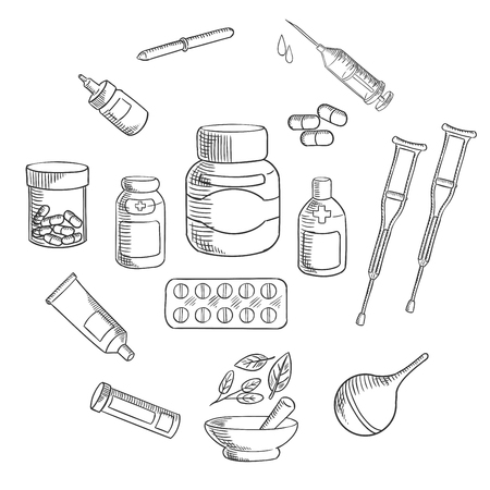 ointment: Medication bottles sketch icon, surrounded by pills, capsules, syringe, drops, pipette, ointment tube, enema, forearm crutches and apothecary mortar and pestle with healing herbs