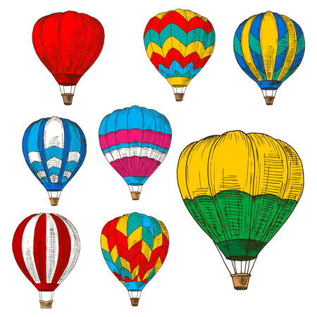 inflate: Retro sketched flying hot air balloons with wicker baskets and colorful envelopes, adorned by striped geometric ornaments. Great for romantic weekend, air travel and tourism design usage Illustration