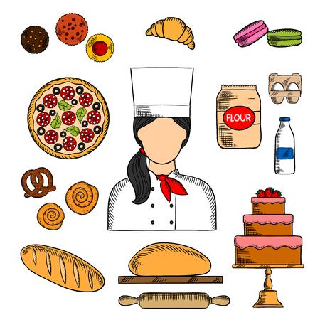 シェフのチョコレート ケーキ、イチゴ、ケーキ、焼きたてのパン、イタリアのピザ、クロワッサン、マカロン、トッピングの色のスケッチ アイコンと共に制服で女性のパン シナモン ロール、プレッツェル、生地、牛乳、小麦粉、卵フード サービスの職業設計に最適