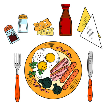 english breakfast: Traditional breakfast colored sketch icon of fried eggs and bacon, grilled sausages and broccoli vegetables, served with sliced cheese, seasonings, ketchup and napkins with knife and fork. Use as american or english cuisine theme design