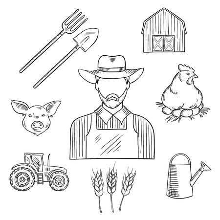roost: Farmer profession sketch for agriculture design with bearded man in hat and overalls, encircled by tractor, barn, wheat plantings, spade, pitchfork and watering can, chicken on roost with eggs and pig Illustration