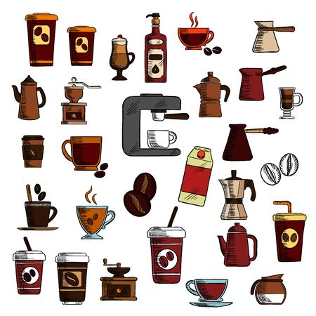 liqueur: Retro colorful signs of coffee in engraving sketch style with take away paper cups of coffee, glass cups with cappuccino, macchiato and irish cream coffee, espresso machine, coffee pots and grinders with roasted coffee beans, cream and irish liqueur