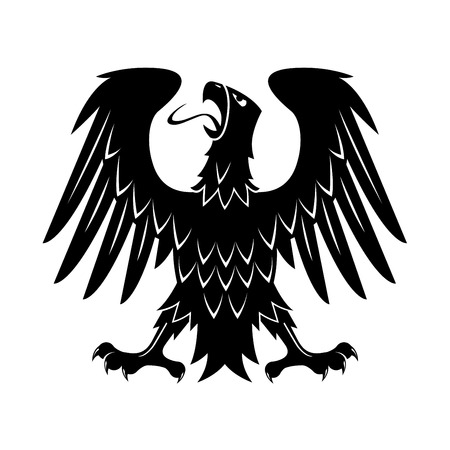 Black heraldic silhouette of medieval eagle with raised wings, outstretched legs and turned head. May be use as heraldry theme, eagle displayed  heraldic symbol or t-shirt print design
