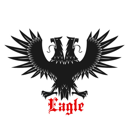 double headed: Royal double headed black heraldic eagle symbol with outstretched legs and wings with medieval stylized pointed feathers and caption Eagle below. May be use as tattoo, t-shirt or coat of arms design