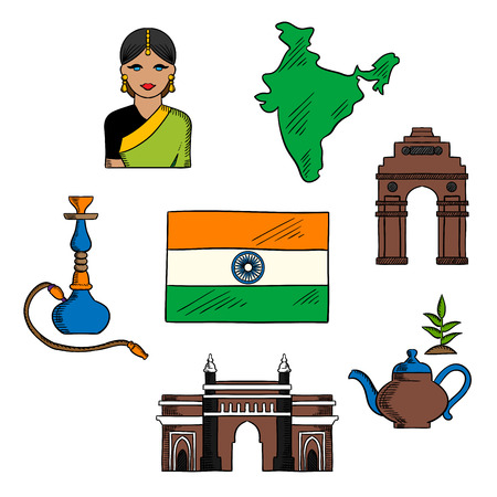 gateway: National symbols of India for travel and indian culture theme design with colored sketches of flag and map of Republic of India, young woman in silk sari, Gateway of India, tea pot with green leaves, India Gate and hookah pipe