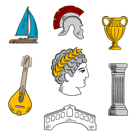 bust: Popular tourist attractions of Italy with bust of Julius Caesar emperor, ancient roman helmet, antique column and vase, mandoline, venetian Rialto bridge and yacht. Colorful sketch icon for travel design