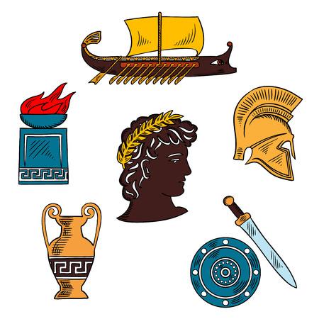 arte greca: l'arte del greco antico e l'icona della storia schizzo con anfora antichi e ciotola fuoco su Postament pietra, casco guerriero, spada e scudo, galea da guerra e mitologico dio Apollo in corona d'alloro