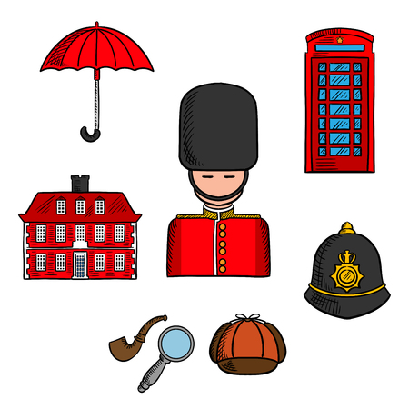 telephone booth: Traditional symbols and travel landmarks of London icon with queens guard soldier, umbrella, red telephone booth and brick house, police custodian helmet with golden badge, cap, smoking pipe and magnifier of Sherlock Holmes. Sketch style Illustration