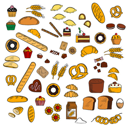 bagels: Chocolate cakes, cupcakes and muffins, glazed donuts, croissants and candies, pretzels and macarons, gingerbread, bagels and baguette, wheat and rye bread loaves, dumplings, waffle tubes, wheat ears, eggs and flour. Bakery and pastry design usage