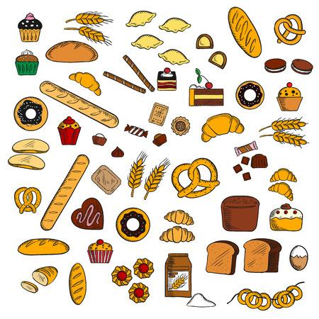 bollos: pasteles de chocolate, magdalenas y bollos, rosquillas glaseadas, cruasanes y dulces, galletas saladas y macarrones, pan de jengibre, bagels y baguette, pan de trigo y de centeno, albóndigas, tubos de gofres, oídos del trigo, los huevos y la harina. Panadería y pastelería de diseño de uso