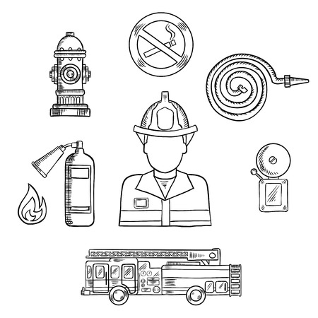 fire department: Firefighter in protective helmet and uniform with fire protection sketch symbols, such as: fire truck, hydrant, extinguisher, fire alarm and no smoking sign. Rescue and fire department professions theme design