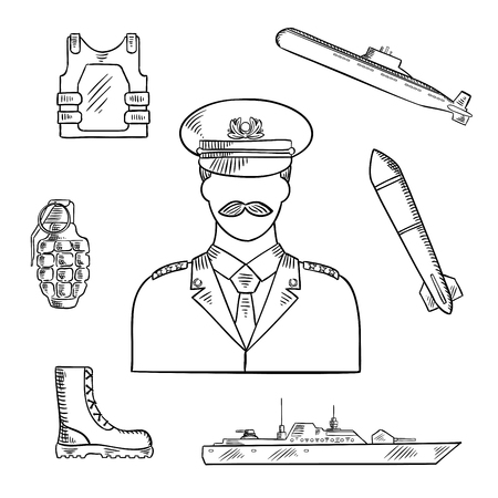 trooper: Military man in uniform sketch symbol with hand grenade, body armor and boots, naval warship, torpedo and submarine. Use as military and naval professions design