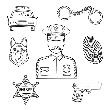 police dog: Sketch of police officer in uniform with badge and peaked hat with police car, pistol, handcuffs, sheriff star, police dog and fingerprint. Emergency service professions design