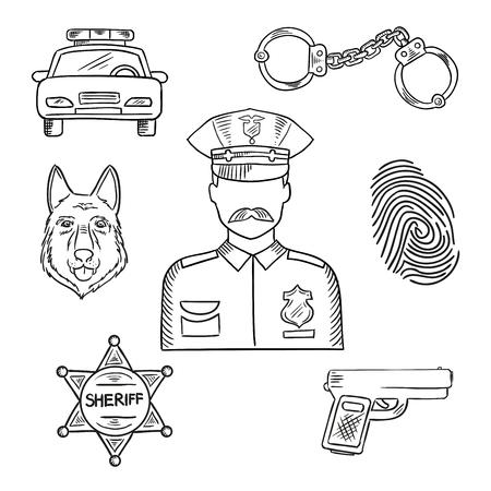 Skizze der Polizist in Uniform mit Abzeichen und spitzen Hut mit Polizeiauto, Pistole, Handschellen, Sheriffstern, Polizeihund und Fingerabdruck. Notdienst Berufe Design