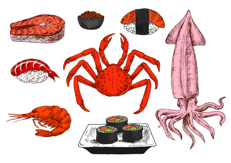steak plate: Healthy seafood sketch with colorful symbols of sushi rolls with salmon, avocado and ginger, served on square plate, nigiri sushi with tuna and shrimp, bowl of red caviar and fresh salmon steak, prawn, crab and squid. Use as oriental or mediterranean cuis